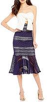 Gianni Bini Leah Fluted Lace Skirt Sheath Dress