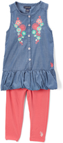 U.S. Polo Assn. Coral Embroidered Floral Tunic & Leggings - Infant Toddler & Girls