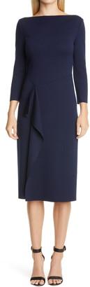 St. John Side Drape Milano Knit Wool Sheath Dress