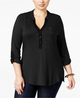 NY Collection Plus Size Lace-Trim Knit Utility Shirt