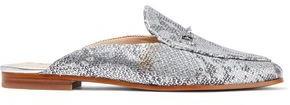 Sam Edelman Linnie Metallic Snake-effect Leather Slippers