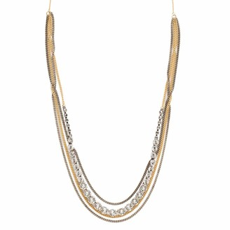 Sorrelli Layer It On Multi-Strand Necklace Mixed Metal Finish