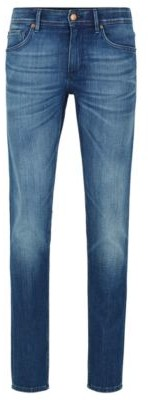 HUGO BOSS Extra Slim Fit Jeans In Mid Blue Stretch Denim - Blue