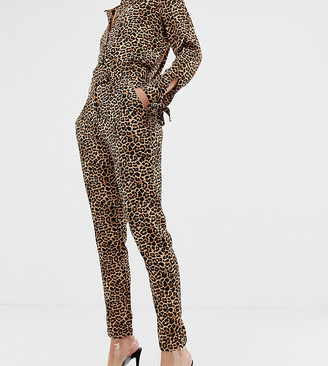 NA-KD Na Kd straight leg pants in leopard print