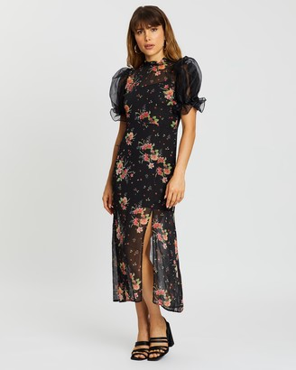Topshop Printed Organza Midi Dress