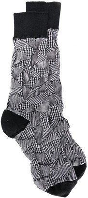 Issey Miyake Hounds-Tooth Patchwork Socks