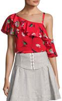 Nanette Lepore Hazy Days Asymmetric Floral Silk Top, Red/Multicolor