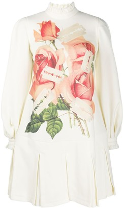 Undercover Rose And Razor-Print Flared Dress