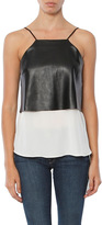 CAMI NYC The Harley Leather Silk Combo Top