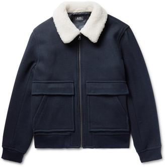 A.P.C. Bronze Shearling-Trimmed Wool-Blend Jacket