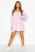 boohoo Rib Off Shoulder Babydoll Smock Dress