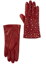 Portolano Leather Rhinestone Gloves