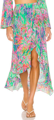 Luli Fama Lemonade Rush Ruffled Hi Lo Slit Skirt