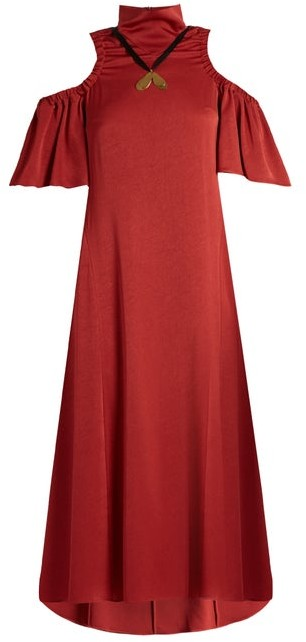 Ellery Deity Cut Out Shoulder Matte Satin Dress - Womens - Dark Red