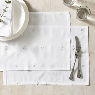 The White Company Broderie Anglaise Placemats Set of 2, White, One Size