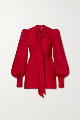 The Vampire's Wife Pussy-bow Silk-satin Twill Mini Dress - Red