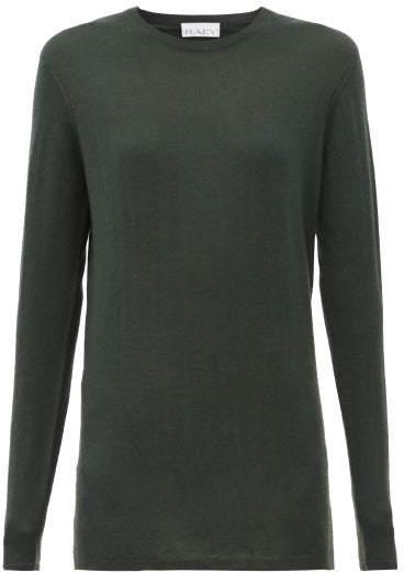 Raey Long Line Fine Knit Cashmere Sweater - Womens - Dark Green