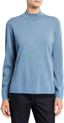 Eileen Fisher Mock-Neck Wool Crepe Sweater