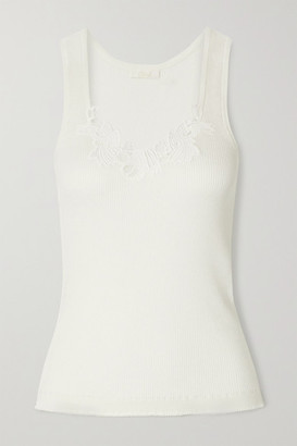 Chloé Guipure Lace-trimmed Ribbed Cotton-jersey Tank - White
