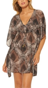 BLEU by Rod Beattie Python Printed Caftan Cover-Up Women's Swimsuit