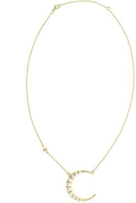 Monica Rich Kosann 18kt yellow gold diamond Crescent moon necklace