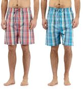 Mantaray Pack Of Two Navy Checked Print Woven Lounge Shorts