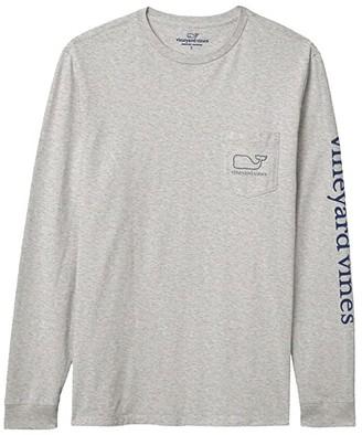 Vineyard Vines Long Sleeve Whale Pocket T-Shirt (White Cap) Men's T Shirt
