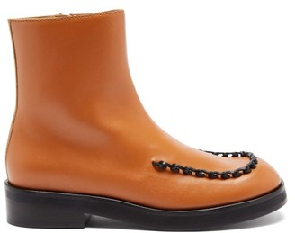 J.W.Anderson Loop-stitched Square-toe Leather Boots - Tan