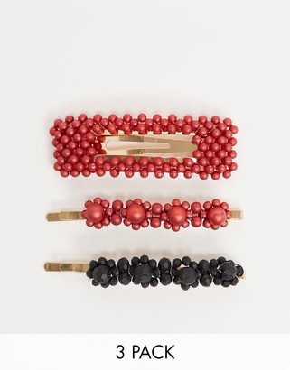 Pieces Helin three pack coloured pearl hair clips