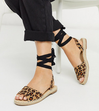 Truffle Collection wide fit tie leg espadrille flat sandals