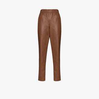 Tibi Straight Leg Faux Leather Trousers
