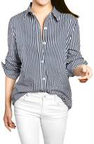 Allegra K Women Vertical Stripes Button Down Long Roll Up Sleeves Shirt