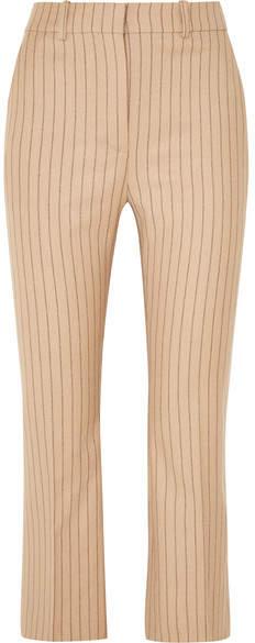 Altuzarra Cropped Pinstriped Wool-blend Flared Pants - Sand