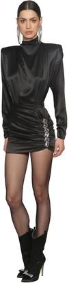 Alessandra Rich Silk Satin Dress With Crystals