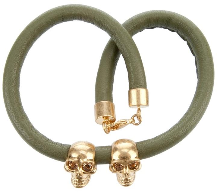 Alexander McQueen Double Leather Skull Bracelet