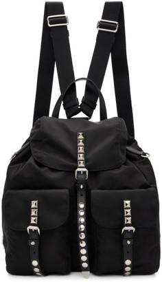 Prada Black Studded Nylon Backpack