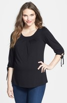 Maternal America Women's Maternity Tie Sleeve Top