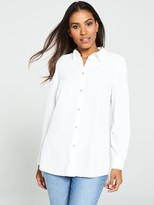 Very Longline ButtonFront Blouse - White