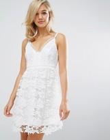 Lipsy Michelle Keegan Loves Allover Crochet Lace Prom Skater Dress
