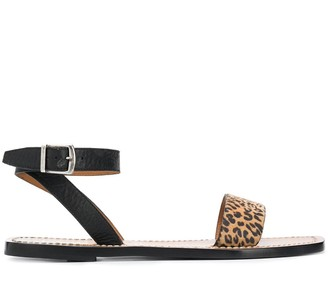Golden Goose Leopard-Print Leather Sandals