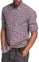 Brunello Cucinelli Madras Plaid Cotton Oxford Shirt, Red