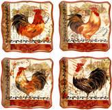 Certified International Tuscan Rooster Set of 4 Dessert Plates
