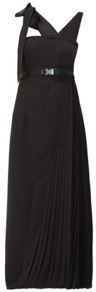Prada Panelled Pleated Technical-twill Midi Dress - Womens - Black