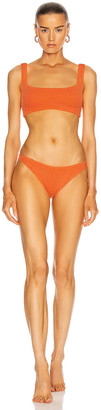 Hunza G Cropped Bikini in Orange | FWRD