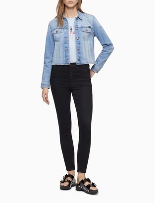 Calvin Klein Light Blue Denim Raw Hem Trucker Jacket