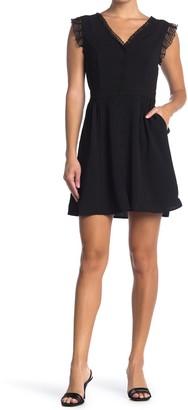 FRNCH Lace Trim Cap Sleeve Dress