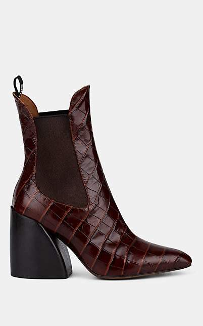 Chloé Women's Crocodile-Embossed Leather Chelsea Boots - Dk. brown