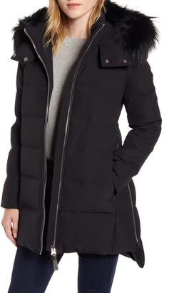Derek Lam 10 Crosby Genuine Fox Fur Trim Hooded Down Jacket