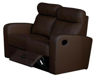 """Hokku Designs 56"""" Wide Leather Match Square Arm Reclining Loveseat Upholstery: Brown Leather Match"""