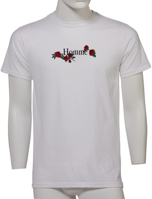Forever 21 Men's Tee Shirts White - White & Red Roses 'Homme' Tee - Men